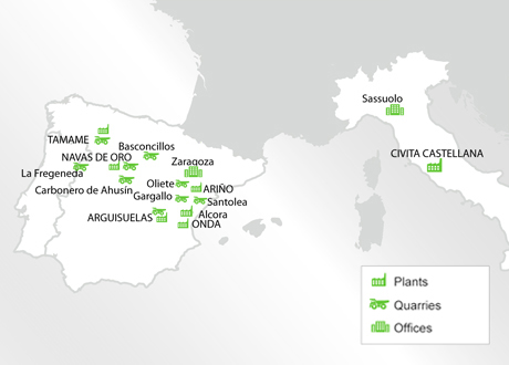 Production sites Samca Group Europe Map