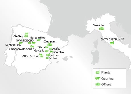 Centros producción Grupo Samca Mapa Europa